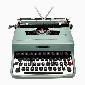 Blaue Vintage Vintage Schreibmaschine mit Häusern von Marcello Nizzoli für Olivetti