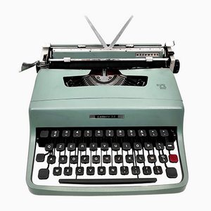 Vintage Blue Typewriter with Houses by Marcello Nizzoli for Olivetti