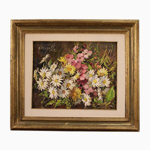 Still Life, 20th-Century, Oil on Canvas, Framed