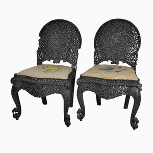 Late 19th Century Carved Wooden Chairs, Set of 2