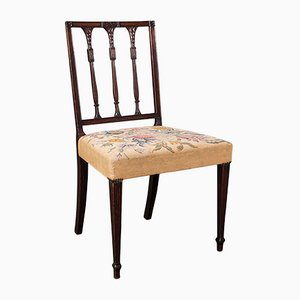 English Sheraton Style Embroidered Dining Chairs, 1780s, Set of 4