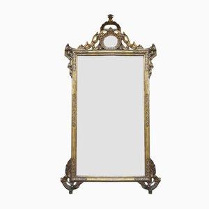 Italienischer vergoldeter & geschnitzter Spiegel mit Gesims, 18. oder 19. Jh