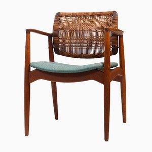 Captain's Chair aus Teak & Schilfrohr von Erik Buch für Ørum, 1950er