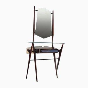 Minimalist Console with Mirror in Mahogany by Vittorio Dassi, Milan, 1950s