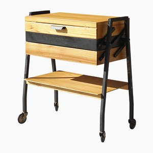 Modernist Worktable in Wood and Steel, 1950s