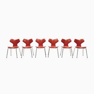 Danish Grand Prix Chairs in Orange Leatherette by Arne Jacobsen for Fritz Hansen, 1968, Set of 6