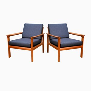 Danish Teak Lounge Chairs by Sven Ellekaer for Komfort, Set of 2