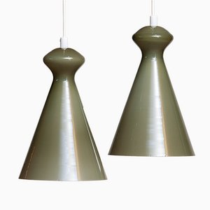 Glass Pendants in Olive Green by Maria Lindeman for Idman Oy, Finland, 1950