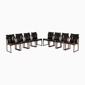 Dänische Holz & Leder Esszimmerstühle, 8er Set