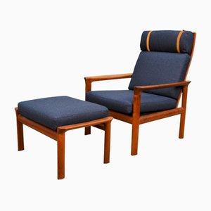 Danish Teak Lounge Chair & Ottoman by Sven Ellekaer for Komfort, Set of 2