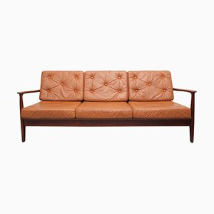 Sofa or Daybed in Teak and Leather by Eugen Schmidt for Soloform, 1960s