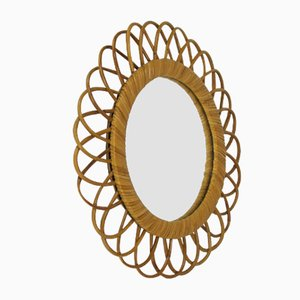 Round Mirror in Wicker