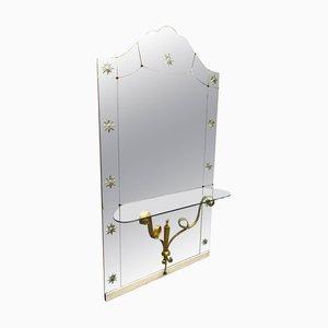 Italienischer Mid-Century Modern Spiegel mit Konsole von Pier Luigi Colli für Cristal Art
