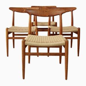 W2 Dining Chairs by Hans J Wegner for C M Madsen, Denmark, 1960s, Set of 4