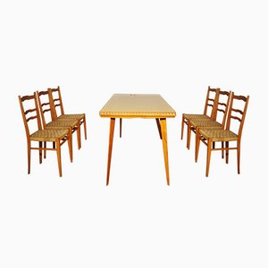 Table, Chairs & Sideboard in Wood, 1940s, Set of 9