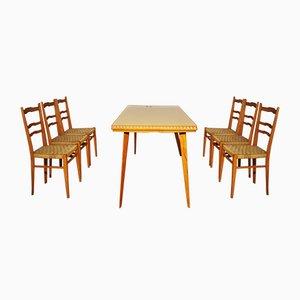 Tisch, Stühle & Sideboard aus Holz, 1940er, 9er Set