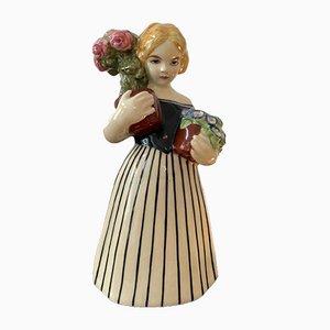 Ceramic Figure of Girl with Flowers by Michael Powolny for Wiener Werkstätte