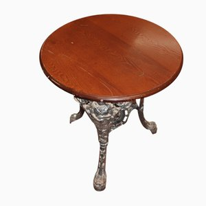 Britannia Pub Tisch aus Gusseisen mit Mahagoni Tischplatte, 1900er