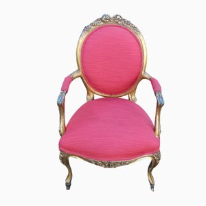 Louis XV Style Gilt Armchair in Red, 1960s