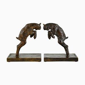 Paul Silvestre, Art Deco Lamb Bookends, Bronze, Set of 2