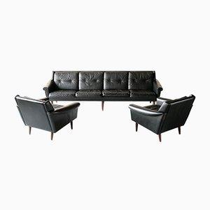 4-Sitzer Sofa & Sessel aus Leder von Svend Skipper, Norwegen, 1960er 3er Set