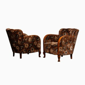Swedish Art Deco Lounge Club Chairs with Floral Rust Jacquard Velvet, 1930s, Set of 2