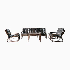 Italienische Rattan Sofas, Sessel & Tische, 1960er, 5er Set