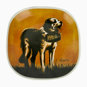 Posters Series Display Plate with St Bernard Dog by Richard Ginori for Campari, Italy, 1980s