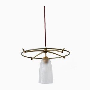 Minimalist Mid-Century Modern Brass & Glass UFO Pendant Lamp, Germany, 1950s