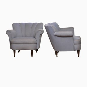 Shell Back Chairs Attributed to Carl-Johan Boman, 1940s, Set of 2