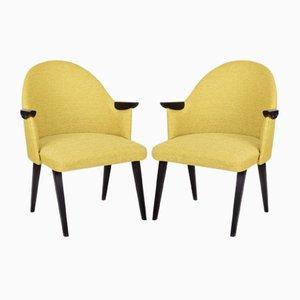 Mid-Century Yellow Armchairs, Czechia, 1950s, Set of 2