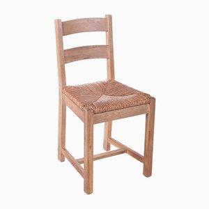 Danish Oak Kitchen Chairs with Wicker Seats, 1970s, Set of 8