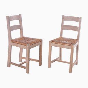 Danish Oak Kitchen Chairs with Wicker Seats, 1970s, Set of 2