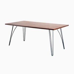 Esstisch mit lackierter Nussholzplatte, 1950er