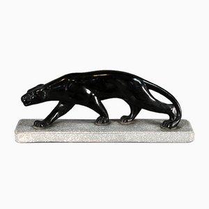 Art Deco Plaster Panther Sculpture