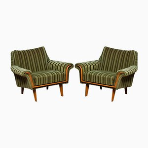 Italian Green Striped Velvet Lounge, Easy or Club Chairs, 1950s, Set of 2
