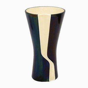 Große grafische Mid-Century Vase aus irisierendem Steingut von Verceram