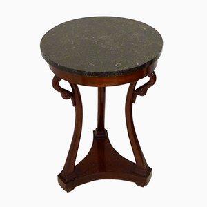 Kleiner Empire Stil Gueridon Tisch mit Schwanenhals Design & Marmorplatte