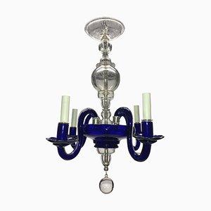 Italian Venetian Glass Chandelier in Cobalt Blue