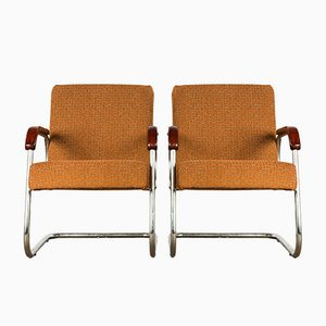 French Bauhaus Tubular Steel Cantilever Chairs, Set of 2