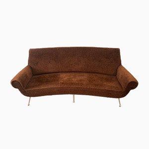 Geschwungenes Sofa aus Kunststoff und Messing von Gigi Radice