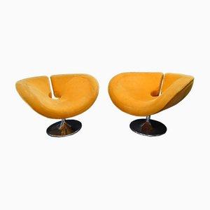 Französische Space Age Stahl Armlehnstühle in Orange, 1960er, 2er Set