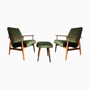 Mid-Century Green Armchairs with Footstool by Henryk Lis, 1960s, Set of 3