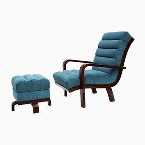 Art Deco Fabric, Lacquer & Walnut Lounge Chair with Ottoman, 1920s, Set of 2