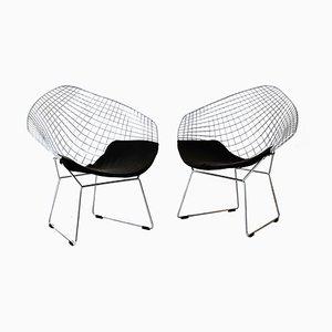 Diamond Armchair with Chromed Steel Frame & Black Seat Pad by Harry Bertoia