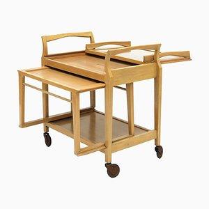 Mid-Century Metamorphic Servierwagen oder Barwagen aus hellem Holz & Glas auf Rollen