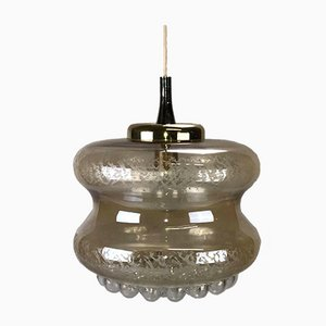 Mid-Century Bubble Glass & Brass Pendant Lamp
