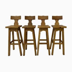 Pine Wood Bar Stools, 1970s, Set of 4