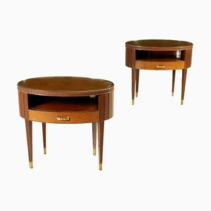 Mahogany, Brass and Glass Nightstands by Paolo Buffa, Italy, 1950s, Set of 2