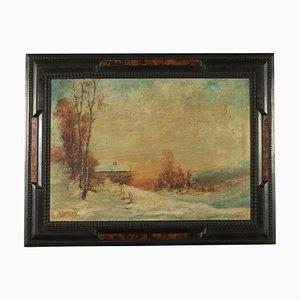 Giuseppe Cavalleri, Landschaft, 20. Jh., Öl auf Leinwand, Gerahmt